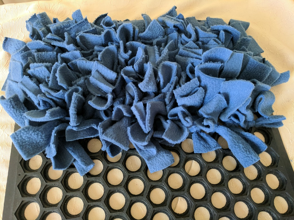 Snuffle mat for dogs rehabilitating from surgery or injury